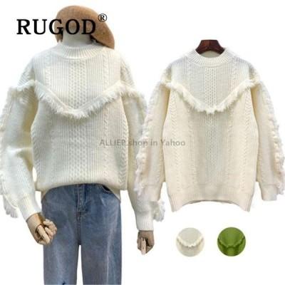レディースファッション RUGODタッセル無地Oネックプルオーバージャンパーセーター冬トップス女性のためのエレガントな韓国スタイルファッション2019
