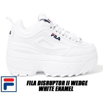 FILA DISRUPTOR II WEDGE white/blue/red WHITE ENAMEL フィラ ディスラプター 2 ウェッジ 厚底 スニーカー パテント ホワイト エナメル レディース ウィメンズ