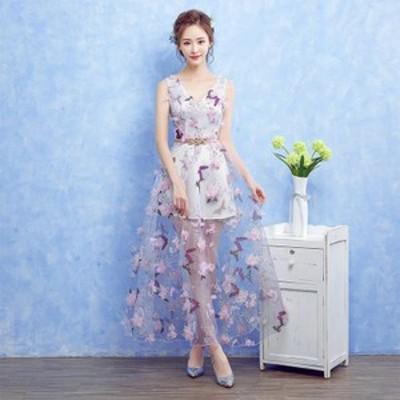 ロングドレス 演奏会 結婚式 フォーマル 花嫁 パーティードレス カラードレス 二次会 ドレス コンサート 花柄