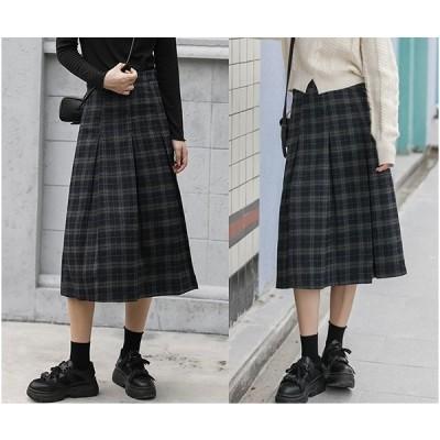スカート フリル 切り替え バイカラー 体型カバー 着痩せ チェック柄 シンプル