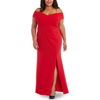ナイトウェイ Nightway レディース パーティードレス 大きいサイズ ワンピース・ドレス Plus Size Portrait-Collar Scuba Gown Red