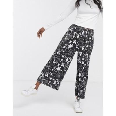 エイソス レディース カジュアルパンツ ボトムス ASOS DESIGN plisse culotte pants in mono floral print Multi