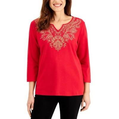 ケレンスコット カットソー トップス レディース Embellished Split-Neckline Top, Created for Macy's New Red Amore