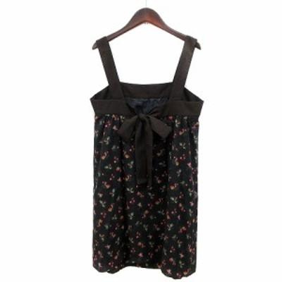 【中古】シンシアローリー CYNTHIA ROWLEY キャミワンピース ミニ 花柄 2 黒 ブラック /MN レディース