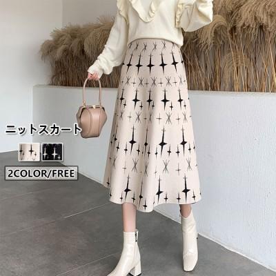 圧縮ニットフレアスカート Aラインスカート スカート 柄スカート