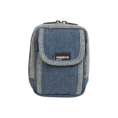 トラスコ デニム携帯電話用ケース 2ポケット ブルー※取寄せ品 TDC-H101