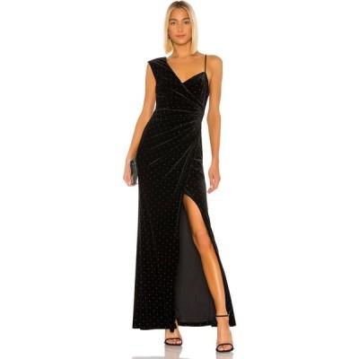 ビーシービージーマックスアズリア BCBGMAXAZRIA レディース パーティードレス ラインストーン ワンピース・ドレス Velvet Rhinestone Gown Black