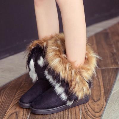 3色 新しい 雪のブーツ 偽のキツネの髪 女性のブーツ チューブ内 レディース ブーツ