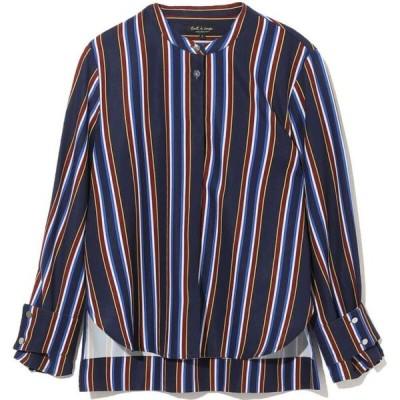 トゥ ア クー Tout A Coup レディース ブラウス・シャツ トップス Stripe Curve Hem Shirt Navy Blue