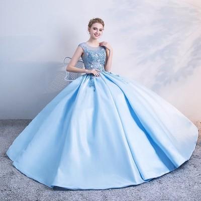 豪華な ロングドレス 演奏会 他と被らない ピアノ 発表会 大きいサイズ 大人 ステージ衣装 締め上げ カラードレス フォーマル ラウンド 体型カバー ブルー