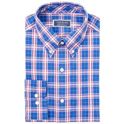 クラブルーム メンズ シャツ トップス Men's Classic/Regular-Fit Performance Stretch Garden Plaid Dress Shirt