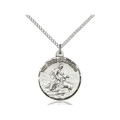 """並行輸入品レディースラウンドスターリングシルバーGood Shepherd Medal with 18""""スターリングシルバーチェーン全国送料無料!"""