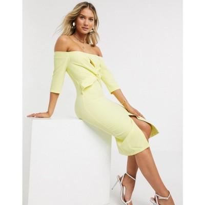 ペーパー ドールズ Paper Dolls レディース ワンピース ワンピース・ドレス Montana Twist Front Bardot Dress In Lemon レモン