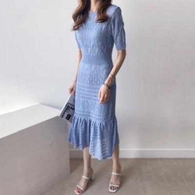 韓国 ファッション レディース 夏 パンチングニットサマーワンピース ひざ丈スカート 半袖 きれいめワンピ インナー付き 裾フレア  上品