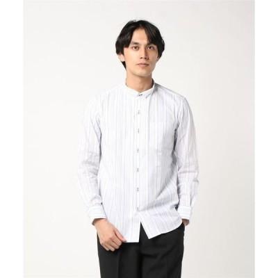 シャツ ブラウス タカキューメンズ/TAKA-Q:MEN ダブルフェイスストライプ ウィングカラー長袖シャツ