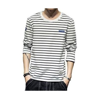Tシャツ長袖メンズストライプメンズTシャツカットソーファッションカジュアルストライプTシャツ柔らかい細身タイトTシャツ快適