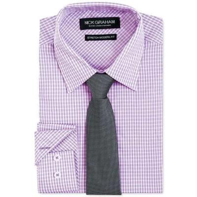 ニックグラハム シャツ トップス メンズ Men's Modern-Fit Dress Shirt & Tie Purple