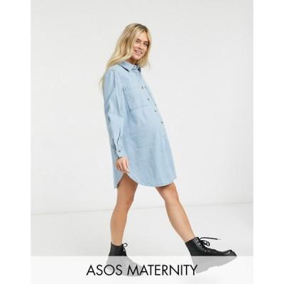 エイソス ASOS Maternity レディース ワンピース ASOS DESIGN Maternity denim oversized shirt dress in midwash blue