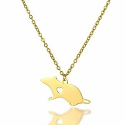 Cute Mouse Accessories Rat Pendant Necklace Animal Stainless Steel Necklace (gold)