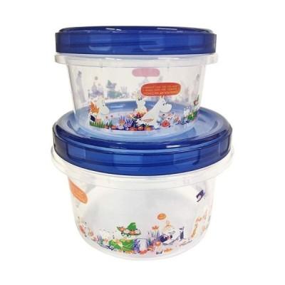 SP/MOOMIN(ムーミン) 2Pラウンドコンテナ お弁当箱/お花畑 ブルー MMLC3305(取/ギフト不可)