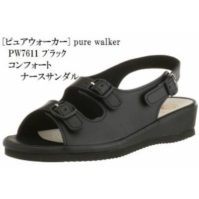 pure walker (ピュアウォーカー) PW7611 コンフォート サンダル ナースサンダル 足裏フィット レディス