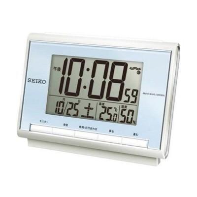 セイコー 電波目覚まし時計 SQ698L 温度・湿度表示機能付 薄青
