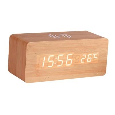 デジタル目覚まし時計&木製電子LED時間表示温度検出木材