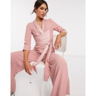エイソス レディース ワンピース トップス ASOS DESIGN plunge tux jumpsuit with wide leg in blush Spring blush