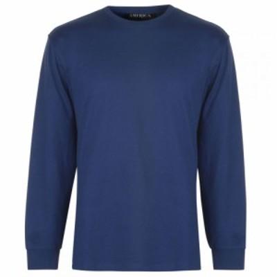 ペリー エリス PERRY ELLIS メンズ 長袖Tシャツ ロゴTシャツ トップス Perry Logo Long Sleeve T Shirt Blue