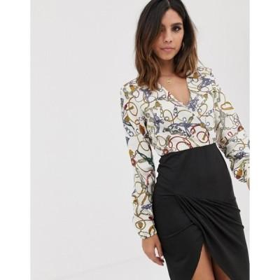 アックスパリ レディース ワンピース トップス AX Paris chain print wrap midi dress