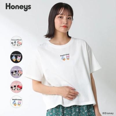 【HONEYS公式】トップス Tシャツ 半袖 ワンポイント 刺繍 ロゴ コンパクト おしゃれ レディース 春 夏 Honeys ハニーズ Tシャツ(ディズニー)