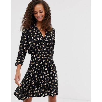 エイソス レディース ワンピース トップス ASOS DESIGN casual wrap mini tea dress in ditsy floral print