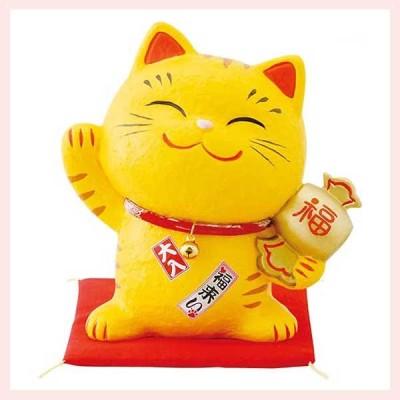 幸せ招き猫 とら ちりめん貯金箱(中) SN-029