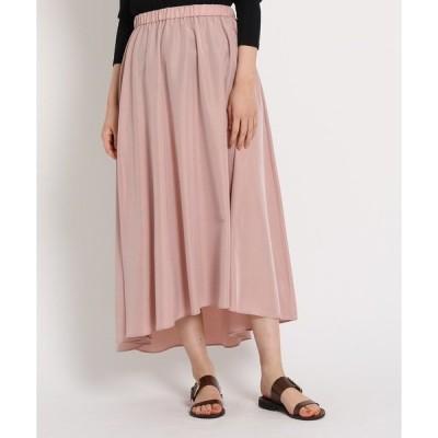 スカート 【洗える】ウエストゴム ヘムデザインマキシスカート