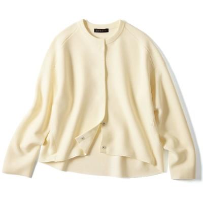 タック編み ニットジャケット オフホワイト 2:M−L