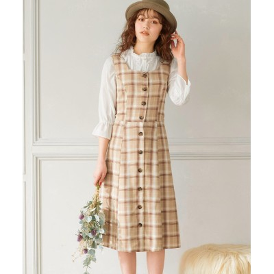 【大きいサイズ】 バックデザインスクエアネックジャンパースカート(オリーブ。デ。オリーブ) ワンピース, plus size dress