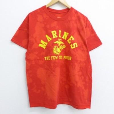 古着 半袖 Tシャツ ミリタリー マリーンズ イカリ クルーネック 赤 レッド ブリーチ加工 Lサイズ 中古 メンズ Tシャツ 古着