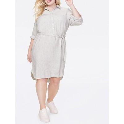 エヌワイディージェイ レディース ワンピース トップス Plus Size Striped Linen Blend Hi-Low Belted Shirt Dress