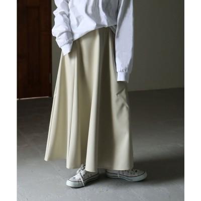 エトル etoll. フェイクレザーロングフレアスカート 21SS エコレザー (ベージュ系)