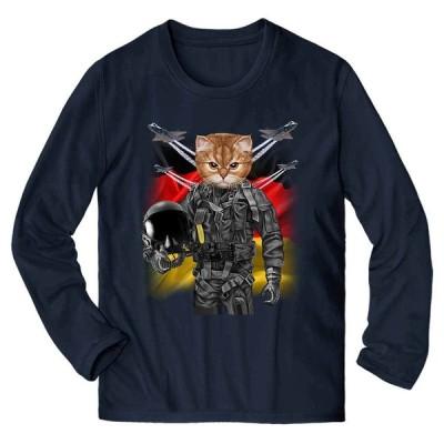 【三毛猫 オレンジ猫 ねこ パイロット ドイツ】メンズ 長袖 Tシャツ by Fox Republic