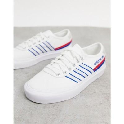 アディダス adidas Originals レディース スニーカー シューズ・靴 Delpala trainers in white and blue ホワイト