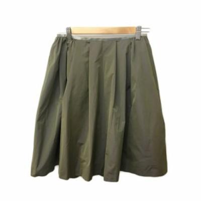 【中古】ユナイテッドアローズ UNITED ARROWS スカート フレア ひざ丈 タック 光沢 S 緑 グリーン レディース