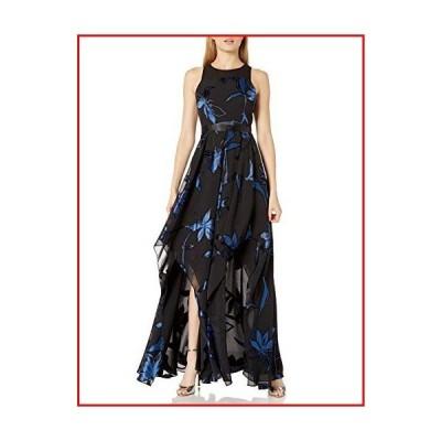 【新品】HALSTON Women's Blossom Burnout Handkerchief Hem Gown, Black/Ultramarine, 8【並行輸入品】