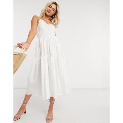 セレクテッド ミディドレス レディース Selected Femme cami midi dress with tiered skirt in white エイソス ASOS ホワイト 白
