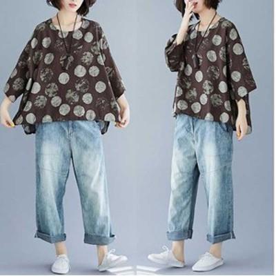 予約商品 秋新作 大きいサイズのレディース  シャツ Tシャツ カットソー デザイン ランダムドット 秋新作 ゆったり 体型カバー オーバー