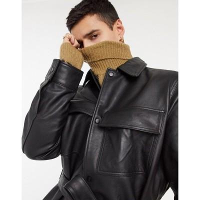 エイソス ジャケット メンズ ASOS DESIGN oversized leather shacket with belt in black エイソス ASOS ブラック 黒