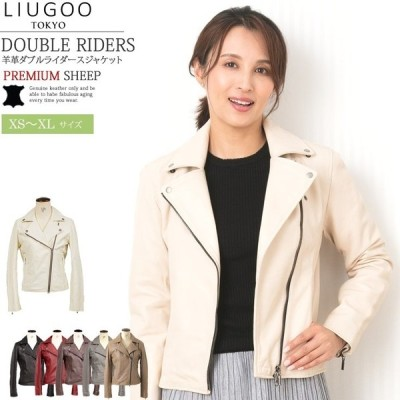 LIUGOO 本革 ダブルライダースジャケット レディース リューグー DRY02LB  レザージャケット 革ジャン