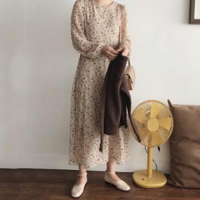 ワンピース ロング 花柄 フレア ゆったり 長袖 大人可愛い レトロ カジュアル ファッション