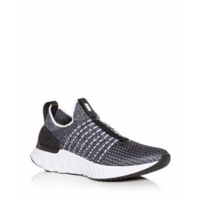 ナイキ レディース スニーカー シューズ Women's React Phantom Run FK 2 Knit Slip On Sneakers Black/White