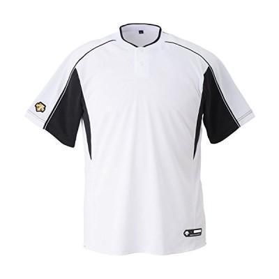 DESCENTE(デサント) 野球 2ボタンベースボールシャツ ホワイト×ブラック Mサイズ DB104B